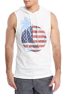 Red Camel® Sleeveless Palm Flag Hoodie Tank