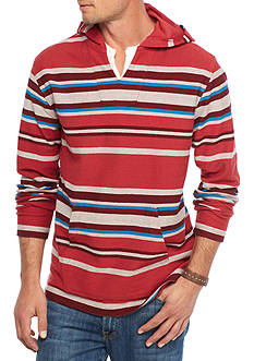 Red Camel Long Sleeve Bold Stripe Split Neck Hoodie