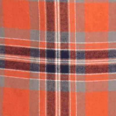 Young Men: Check & Plaid Sale: Orange Red Camel Long Sleeve Flannel Shirt