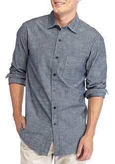 Red Camel Long Sleeve Single Pocket Chambray Shirt