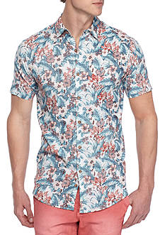 Red Camel Short Sleeve Hibiscus Woven Shirt