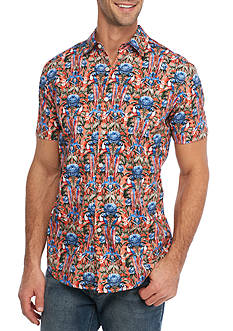 Red Camel Short Sleeve Parrot Party Woven Button Down Shirt