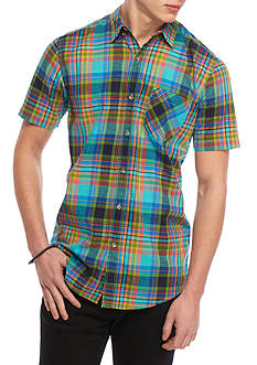 Red Camel Short Sleeve Plaid Woven Button Down Shirt
