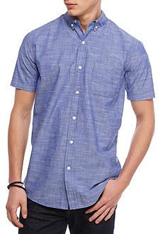 Red Camel Short Sleeve Textured Woven Button Down Shirt