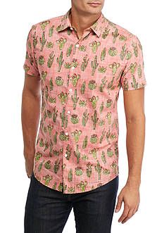 Red Camel Short Sleeve Crazy Cactus Woven Shirt