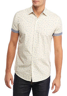 Red Camel Short Sleeve Flower Drop Woven Shirt