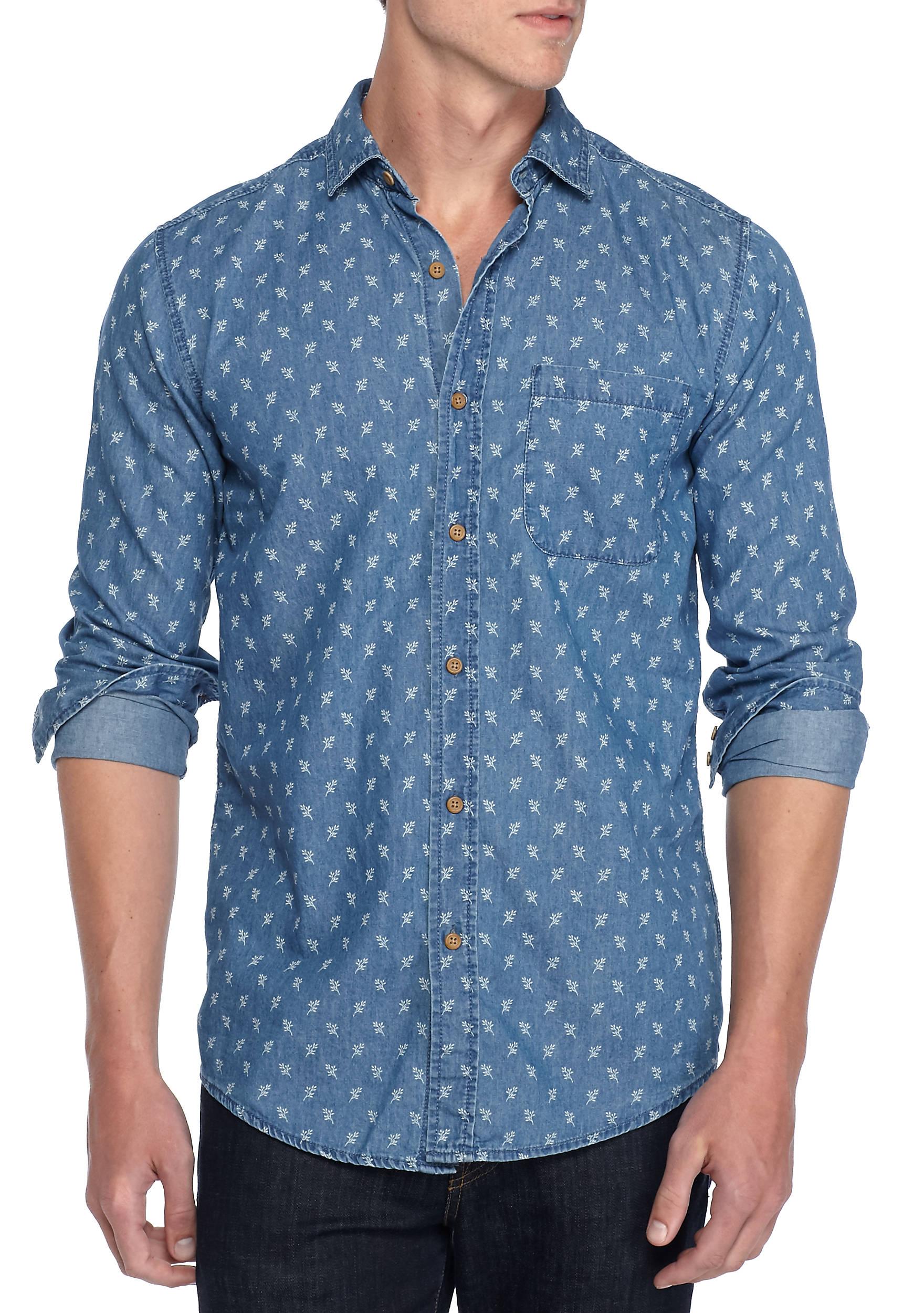 TRUE CRAFT Long Sleeve Chambray Branch Button-Up Shirt   belk