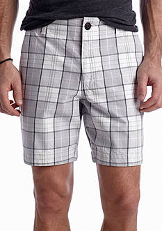 Red Camel® Flat Front Twill Plaid Shorts