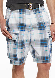 Red Camel® Open Plaid Ripstop Belted Cargo Shorts