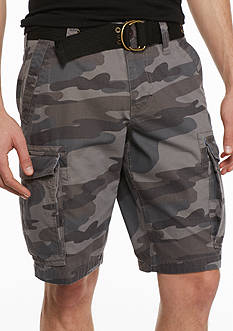 Red Camel® Camo Ripstop Belted Cargo Shorts