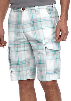 Red Camel Plaid Stretch Cargo Shorts