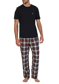 Nautica Short Sleeve Plaid Flannel Pajama Set