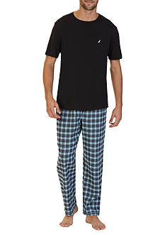 Twilight Sky Nautica Light Blue Plaid Pants and Black Tee Shirt Pajama Set