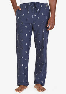 Nautica Big & Tall Lightweight Sueded Fleece Anchor Print Lounge Pants
