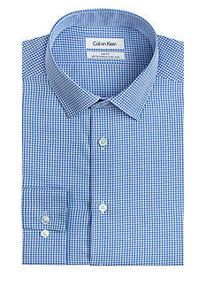 Calvin Klein Long Sleeve Non Iron Slim Fit Blue Mini Check Dress Shirt
