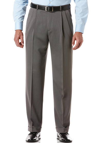 Perry Ellis® Classic-Fit Pleated Non-Iron Micro Melange Pants