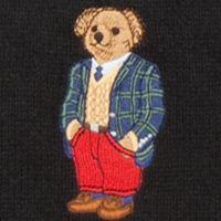 Young Men: Polo Ralph Lauren Accessories: Black/Blackwatch Bear Polo Ralph Lauren Cardigan Rib Polo Bear Scarf