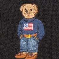 Polo Ralph Lauren Accessories: Black/American Flag Bear Polo Ralph Lauren Cardigan Rib Polo Bear Scarf