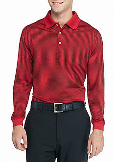 Pro Tour Long Sleeve Heather Stripe Polo Shirt