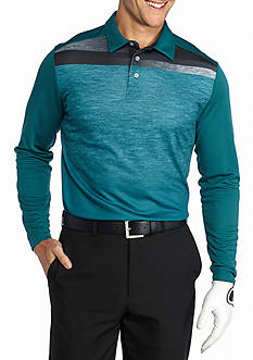 Pro Tour Long Sleeve Printed Diffused Color Block Polo Shirt