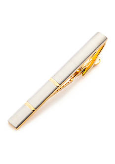 Geoffrey Beene Rhodium with Gold Bands Tie Bar