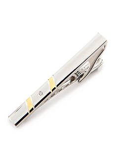 Geoffrey Beene Polished Rhodium with Polished Gold Diagonal Lines and Crystal Detail Tie Bar