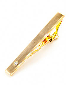 Geoffrey Beene Brushed Light Gold with Crystal Decal Tie Bar