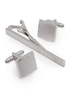 Geoffrey Beene Polish Rhodium with Textured Center Cufflinks and Tie Bar Set