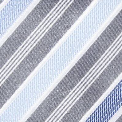 Young Men: Neckties Sale: Silver/Blue Countess Mara Stamford Stripe III Tie