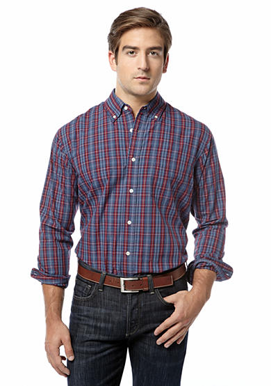 Saddlebred® Long Sleeve Poplin Plaid Shirt