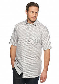 Saddlebred® Big & Tall Short Sleeve Horizontal Fish Print Shirt