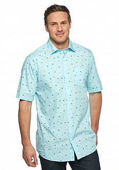 Saddlebred® Big & Tall Short Sleeve Hula Palm Print Shirt