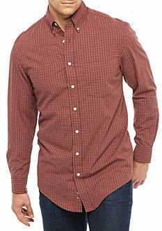 Saddlebred® Big & Tall Long Sleeve Single Pocket Plaid Shirt