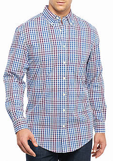 Saddlebred® Big & Tall Long Sleeve Single Pocket Check Shirt