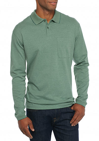 Saddlebred long sleeve box polo shirt belk for Long sleeve polo shirts for men sale