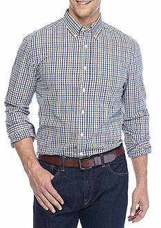 Saddlebred® Big & Tall Long Sleeve Nutmeg Plaid Shirt