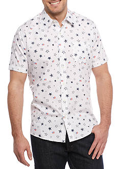 Saddlebred 1888 Short Sleeve Stars And Stripes Woven Shirt