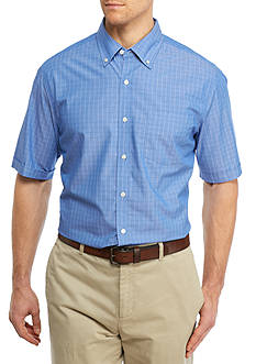 Saddlebred® Big & Tall Short Sleeve Windowpane Woven