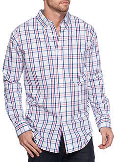 Saddlebred Long Sleeve White Pink Plaid Poplin Shirt