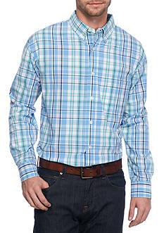 Saddlebred Long Sleeve Blue Turquoise Plaid Poplin Shirt