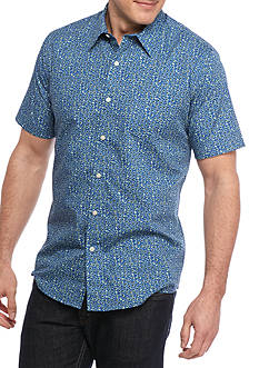 Saddlebred 1888 Short Sleeve Blue Floral Printed Woven Shirt