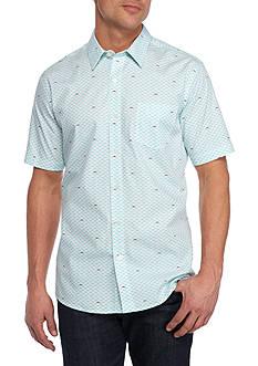 Saddlebred 1888 Short Sleeve Shark Print Woven Shirt