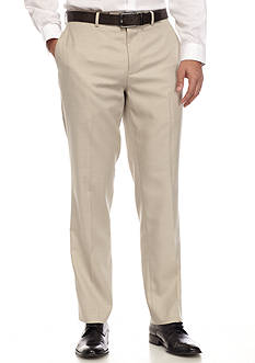 Louis Raphael Classic Fit Flat Front Linen Herringbone Pants