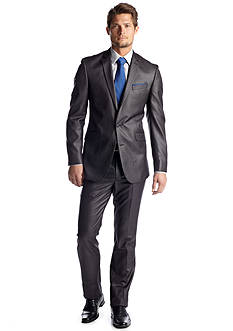 Kenneth Cole Reaction Slim Fit Charcoal Basket Suit