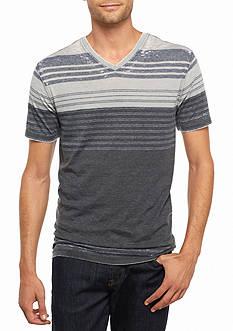 Michael Gerald Short Sleeve Stripe V-Neck Burnout Tee