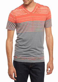 Michael Gerald Short Sleeve Stripe V-Neck Burnout Tee