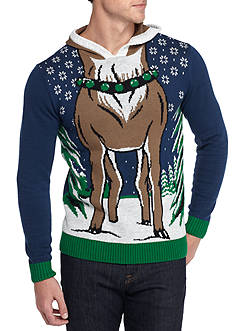 Ugly Christmas Sweater Reindeer Hood Sweater