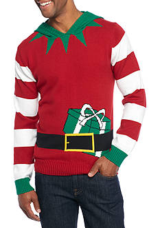 Ugly Christmas Sweater Elf Hood Sweater