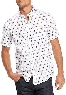 Retrofit Short Sleeve Chair Print Woven Shirt
