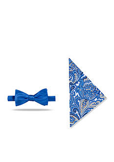Madison Pre-Tied Solid /Paisley Bow-Tie With Pocket Square